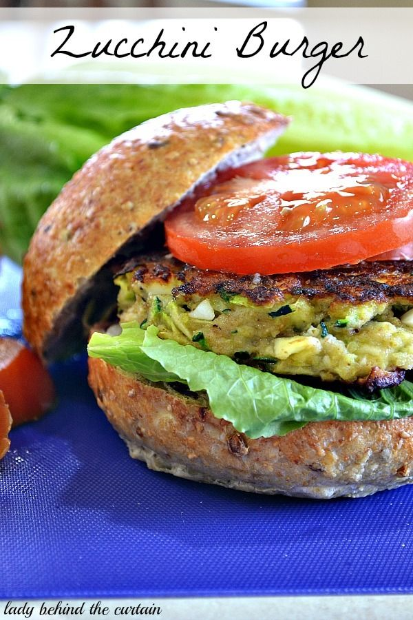 Zucchini Burgers. 2 cups zucchini,  1 medium onion,  1/2 cup dry bread crumbs,  2 eggs,   1/2 teaspoon salt,  dash of cayenne pepper,  3 hard cooked egg whites,  2 tablespoons oil,  4 whole wheat hamburger bunt,  toppings (lettuce, tomato and onion)   http://www.ladybehindthecurtain.com/zucchini-burgers/