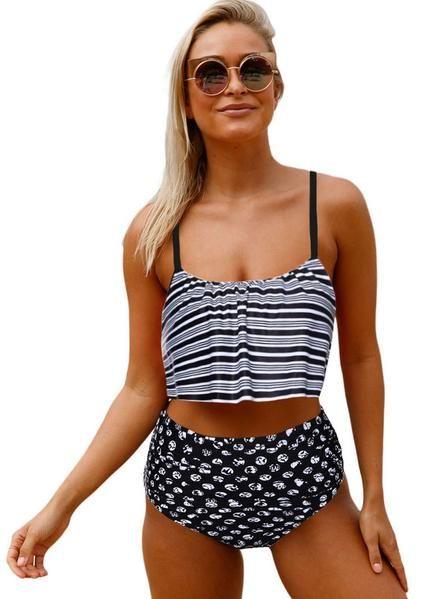060e67c038 Glowing Striped Flounced Top and Bottom High Waist Swimwear ...