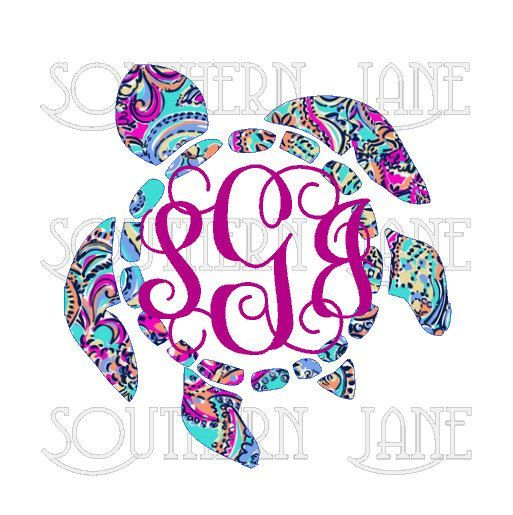 Lilly pulitzer inspired sea turtle with monogram decal sticker for yeti cooler rambler tumbler