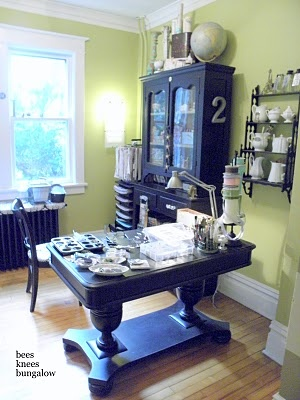 Craft Room - MUCH better take on shabby chic - purple beats out crackly white any day.
