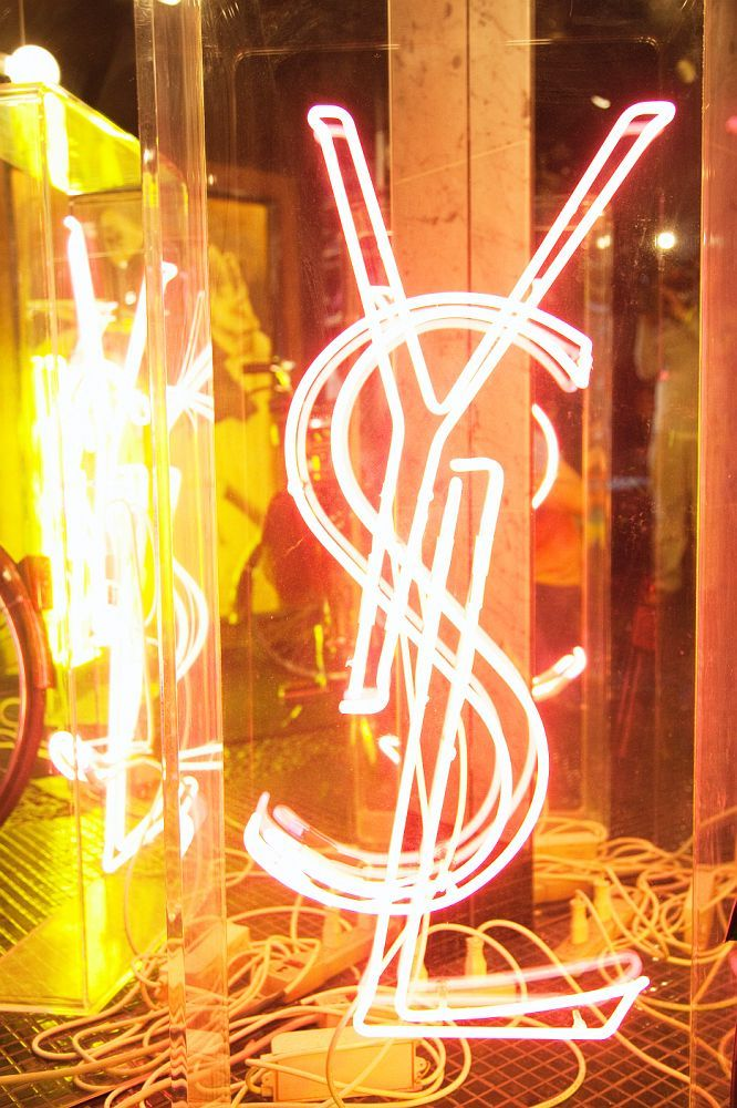 Yves Saint Laurent Neon Logo in the Manhattan apartment of entrepreneur Cindy Gallop