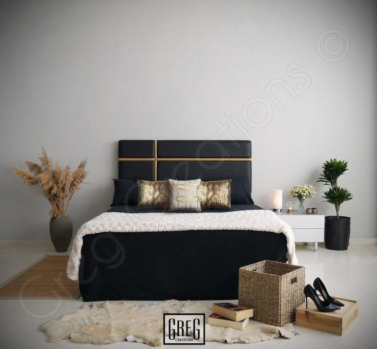 dormitorio con cabecero negro y dorado tapizado en polipiel de la serie aura