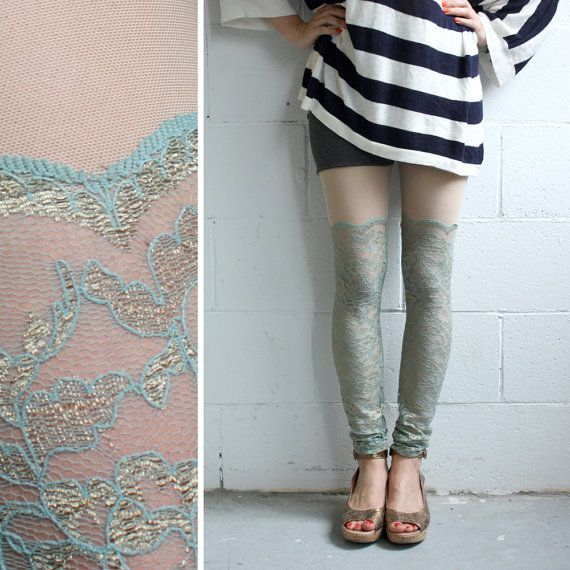 My latest obsession: Lace Leggings  Seafoam by iheartnorwegianwood