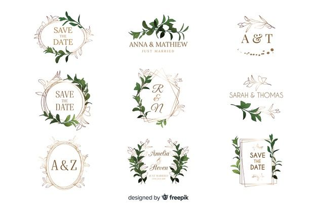 Download Watercolor Wedding Frame Logos Collection For Free