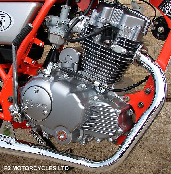 Skyteam Ace 125 engine after engine tidied up by F2 Motorcycles Ltd and non catalytic sports exhaust. Find out more http://www.f2motorcycles.ltd.uk/motorcycles.html