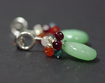 Green Quartz Earrings, Sea Green Quartz Sterling Silver Earrings Cluster Drop Earrings Orange Carnelian Earrings Lemon Quartz Earrings