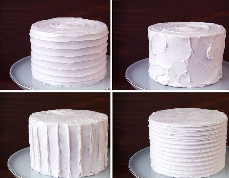 How to create four different textured buttercream finishes on a cake.