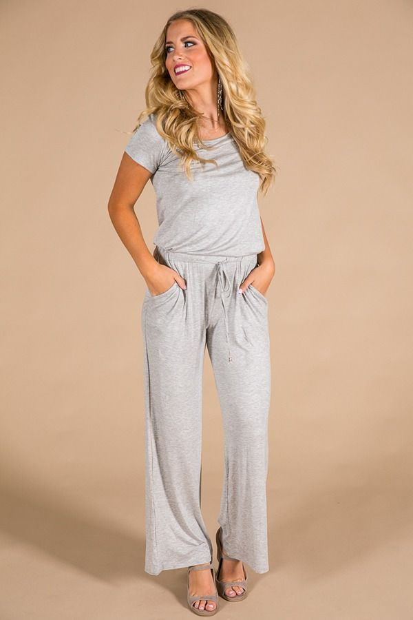 Good Vibes Only Jumpsuit In Grey $42.00