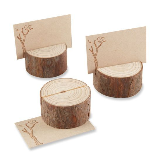 Kate Aspen Rustic Real-Wood Placecard/Photo Holder, 24 Pack