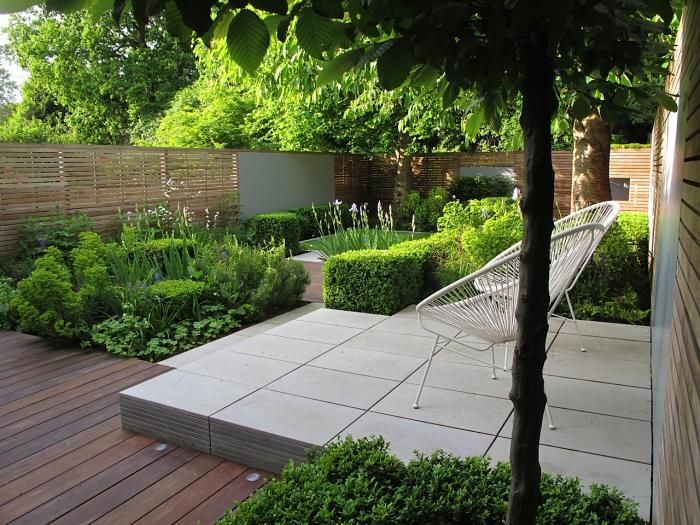 Contemporary Grey Sawn Sandstone Paving has been used to stunning effect in this modern urban garden by Lucy Wilcox Garden Design.