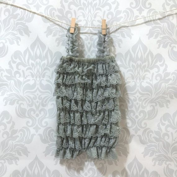 Grey petti romper for baby girls petti by RascalsRhinestones