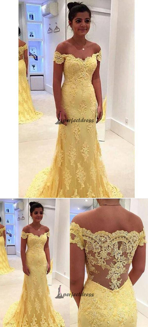 Sexy offtheshoulder long prom dresses short yellow prom dresses