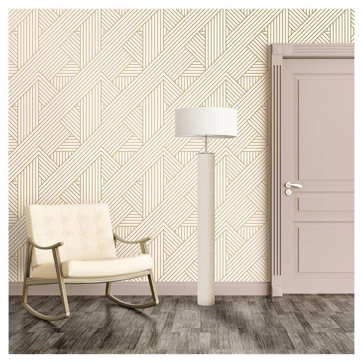 Metallic Ribbon Peel Stick Wallpaper Gold Ivory Project 62 Peel And Stick Wallpaper Removable Wallpaper Wallpaper Project