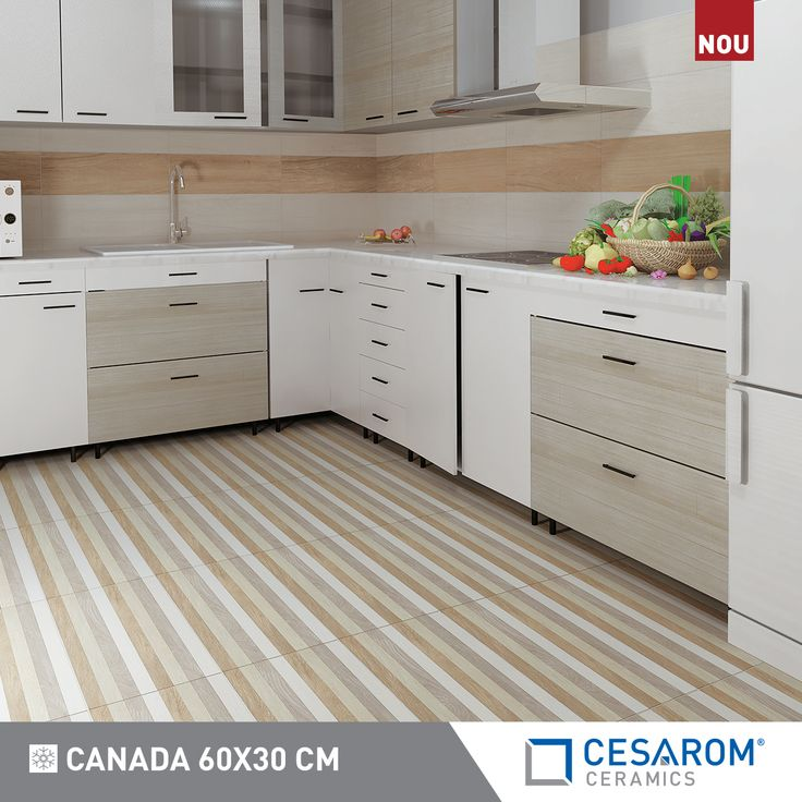 Gresie portelanata Canada 60x20, alb, bej, decor cu benzi
