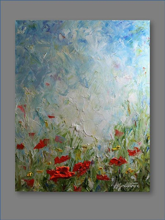 Original Oil Painting Poppy Field II Modern by mgotovac on Etsy