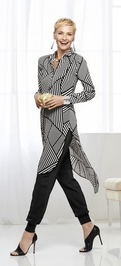 Long, lightweight and sheer, this black-and-white shirt covers all the right angles.
