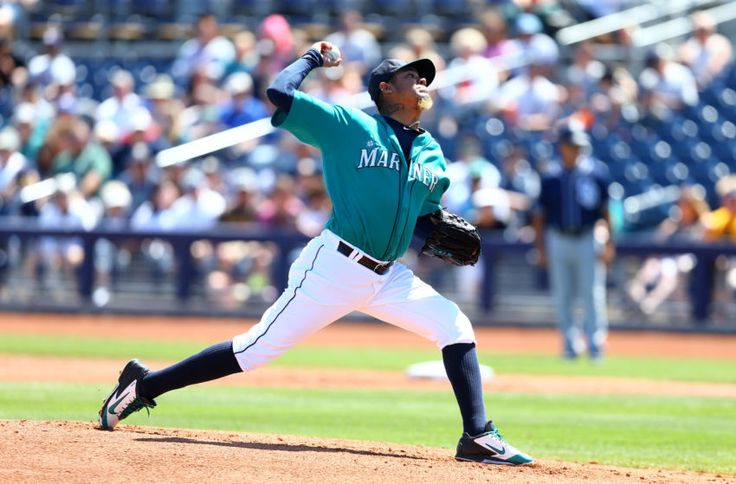 Mar 30, 2016; Peoria, AZ, USA; Seattle Mariners pitcher Felix Hernandez against the San Diego Padres during a spring training game at Peoria Sports Complex. Mandatory Credit: Mark J. Rebilas-USA TODAY Sports
