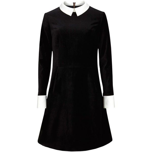 Ted Baker Cheryll Velvet Collar Dress, Black (3.469.515 IDR) ❤ liked on Polyvore featuring dresses, black a line dress, mini dress, black midi dress, black mini dress and long sleeve shift dress