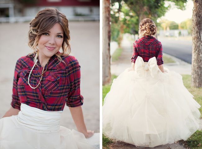 Plaid Winter Bride In Flannel, Full Tulle Skirt With Back Bow & Loosely Textured Braid Do | Photograph by Ciara Richardson  http://storyboardwedding.com/winter-wedding-plaid-bride-flannel-full-tulle-skirt/