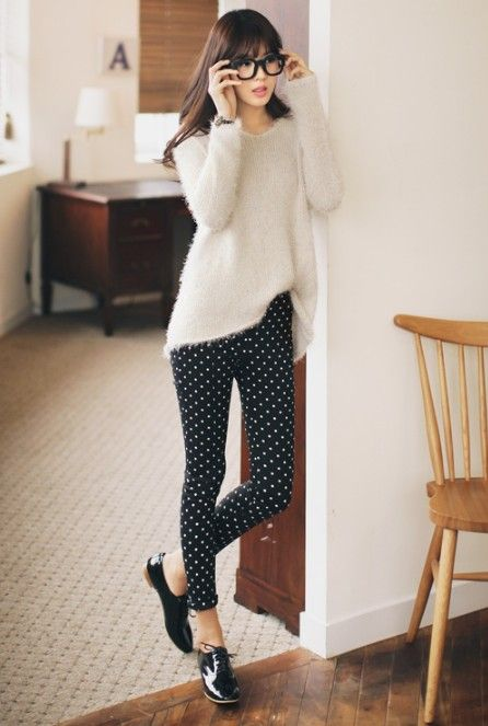 Fashion Dotted Retro Women Ladies Legging Pants #style #fashion