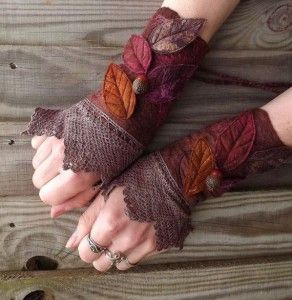Vintage Lace Faerie Cuffs - Fairy Costume - Fairy… - Vintage Lace Faerie Cuffs - Fairy Costume - Fairy Accessories - Felt Gloves - Fantasy Costume - Pixie Armwarmers - Steampunk Fairy