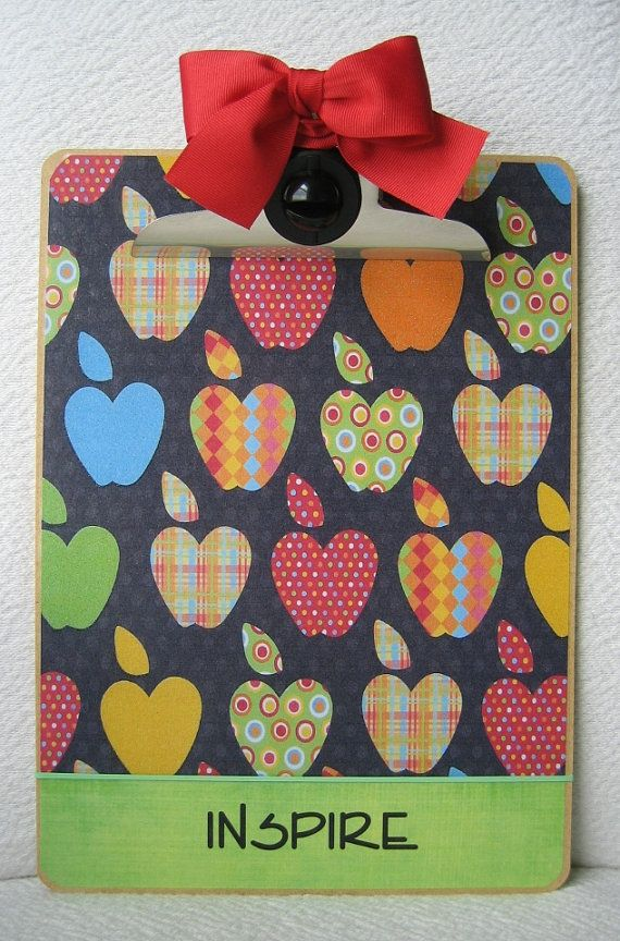 Apple laminated letter size clip board -- can purchase on Etsy or use it as inspiration for a DIY project.