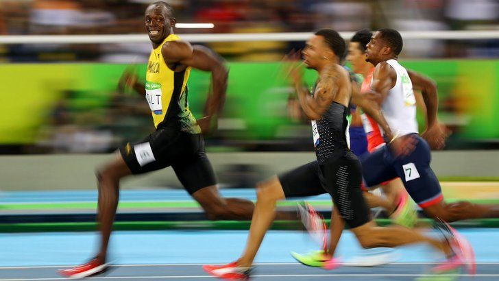 Usain Bolt's face right before he finishes the 100m sprint semi-finals in Rio…