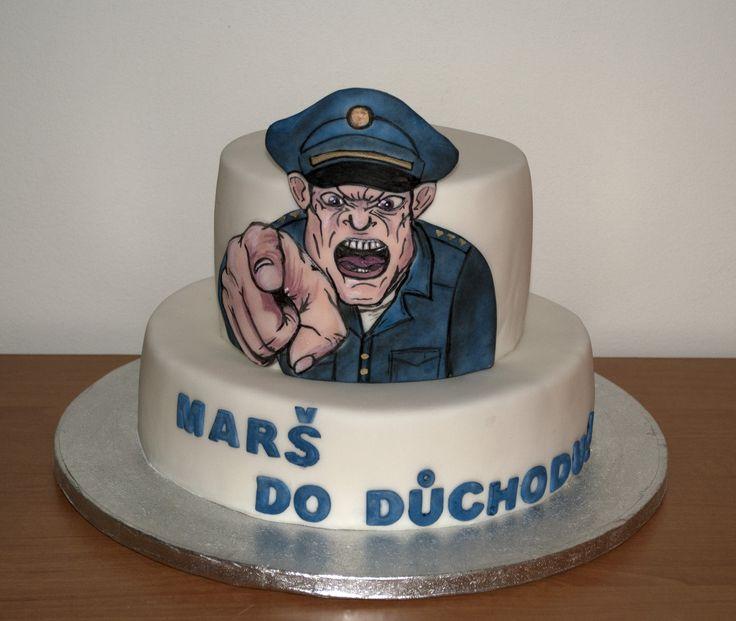 Dort na oslavu policistova odchodu do důchodu. Cake for policeman - going to retirement.