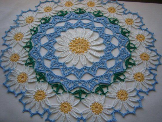 Daisy doily hand crochet NEW by DEMET on Etsy