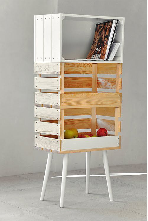 This piece of furniture was designed by: The design studio Kompott, but I can totally see making this bad boy myself. Start with a stool or something with those sort of legs & add some crates. ~ CooL piece! ~