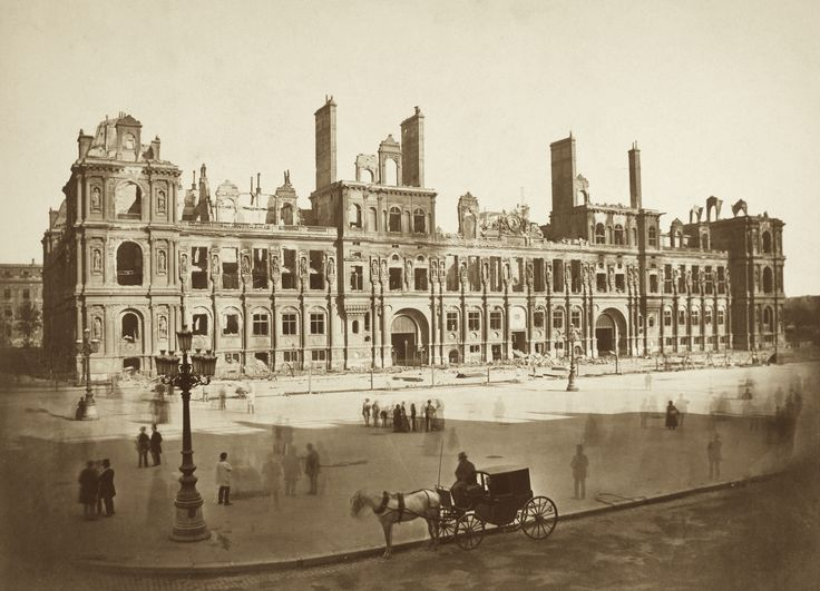 Hippolyte-Auguste Collard - Hôtel de Ville, the Paris city administration building, half destroyed shortly after the Paris Commune of 1871 during which the communards burned memorials of the Empire