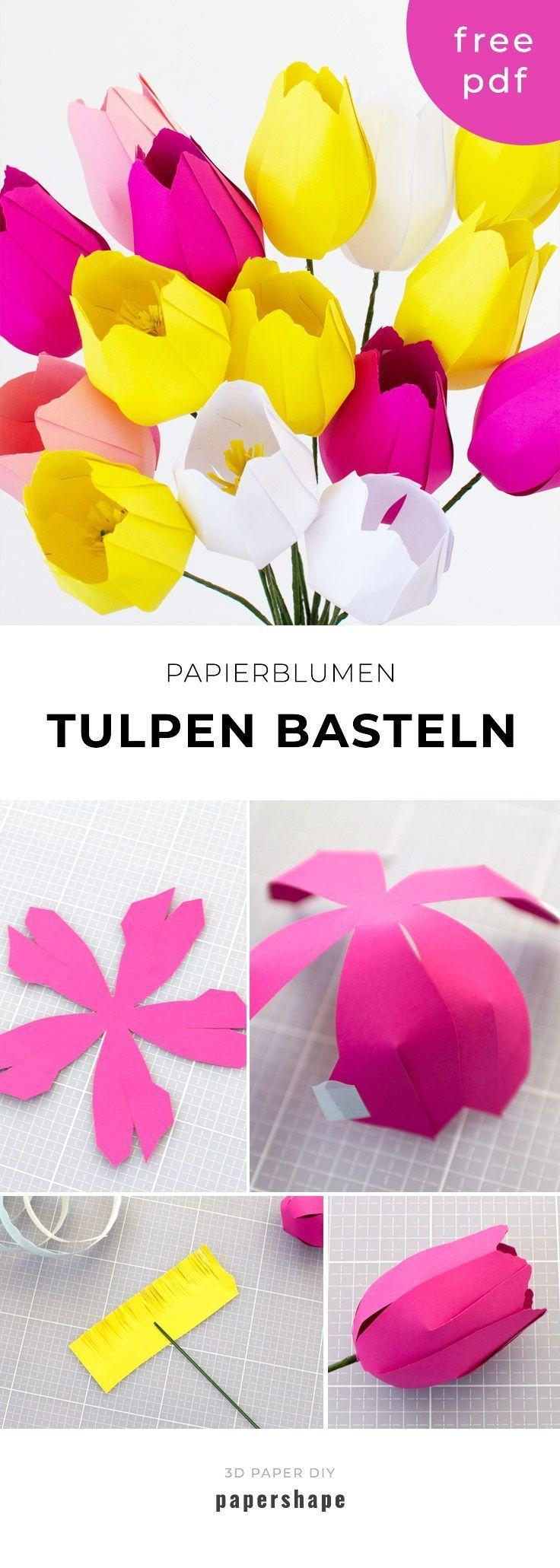 Papier Blumen basteln: Einfache Tulpen (mit Vorlage)