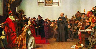 """(Illus) Luther at the Diet of Worms, by Anton von Werner, 1877 The Diet of Worms 1521 (German: Reichstag zu Worms, [ˈʁaɪçstaːk tsuː ˈvɔɐms]) was an imperial diet of the Holy Roman Empire held in Worms, Germany at the Heylshof Garden. (A """"diet"""" is a formal deliberative assembly.) It is most memorable for the Edict of Worms (Wormser Edikt), which addressed Martin Luther and the effects of the Protestant Reformation."""