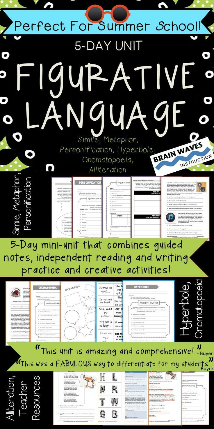 In This Unit Students Will Define Interpret Write Read And Analyze Six Types Of Figurative La Figurative Language Figurative Language Unit Figure Of Speech