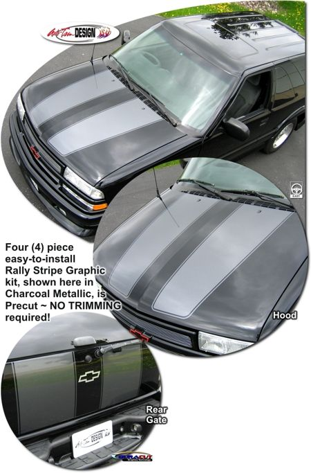 Rally Stripe Graphic kits for Chevrolet S10 Blazer and GMC Jimmy that are Precut and ready to install. Xtreme.