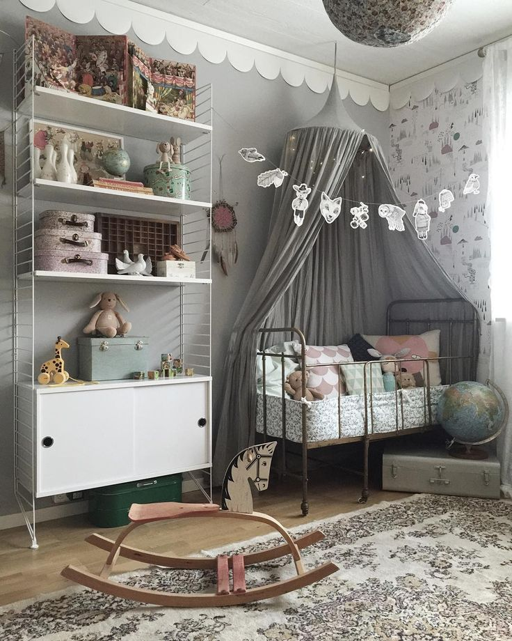 1. scalloped border idea, 2. canopy over crib idea 3. hanging banner/garland string from corners and lights around the canopy