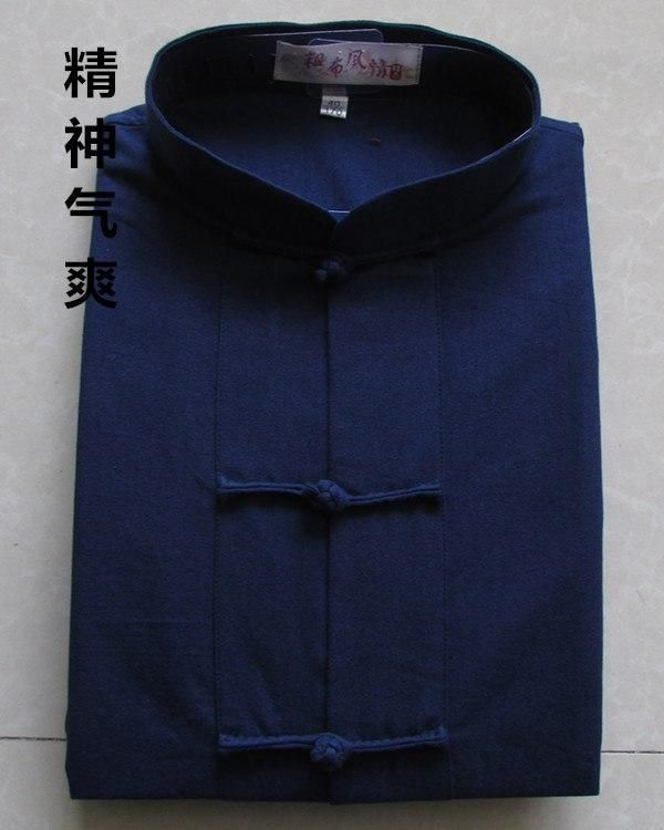 0bad6a6eb8 Traditional Chinese Men s Clothes Short Sleeve clothing Tang Suit Top 100% Cotton  kung fu shirt Tai Chi Uniform wing chun Blouse
