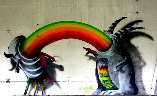 Monstros grafitados invadem prédios na Alemanha