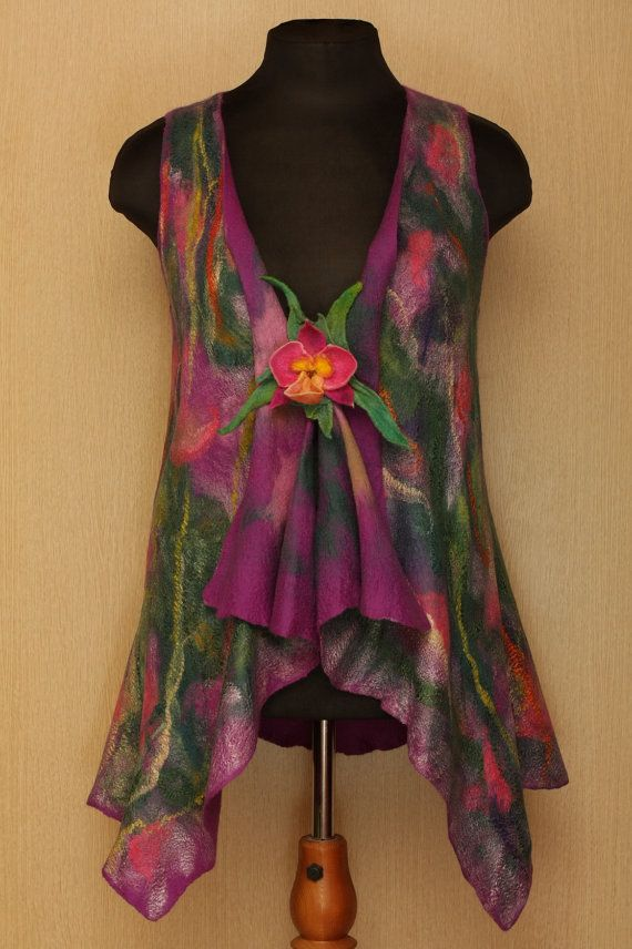 The Wild Orchid / Felted Clothing / Vest by LybaV on Etsy, $200.00