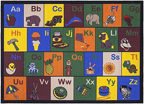 Navy Rug Jenny Collection Children Rug Multi Color Children us Educational Alphabet with Pictures Design Machine washable Non