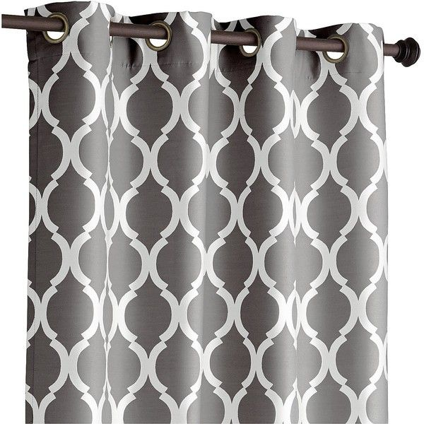 """Pier 1 Imports Moorish Tile Charcoal 84"""" Curtain ($45) ❤ liked on Polyvore featuring home, home decor, window treatments, curtains, grey, grommet curtains, dark grey curtains, charcoal gray curtains, grommet draperies and geometric pattern curtains"""