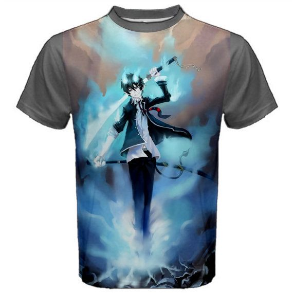 Blue Exorcist, T-Shirt, Anime, Manga, Grey, Tee, Ao No Exorcist, Gray, Shirt, Manga Shirt, Anime Shirt, Cosplay, Kawaii, Otaku, Tshirt, Geek