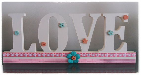 Handmade Wedding, Wooden LOVE Sign, Love Letters, Letters, Love, LOVE Sign, Wedding Centrepieces, Aqua and Coral Wedding, Wedding Decoration LOVE IS IN THE AIR!! One of the more popular wedding colour schemes this year is aqua, coral and cream, with paler shades of mint and