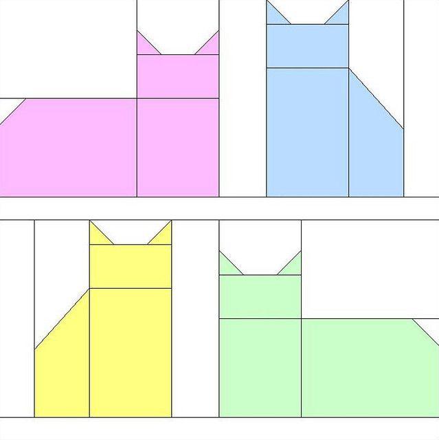 bloco com gatos que podem ser aplicados em patchwork. cat block pattern by hardhat_cat, via Flickr