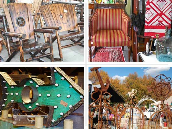 composite of four examples of furniture, artwork, and miscellaneous items from different hidden gem flea markets