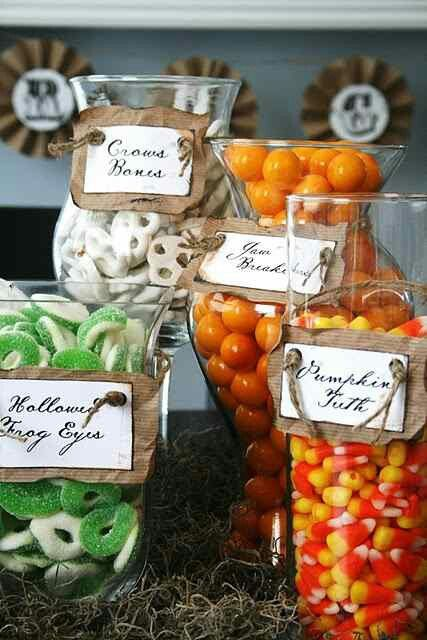 appetite/amenity - I've seen this idea so many times and it works perfectly for the Halloween season. Candy is a must. Can also be an amenity; guests can put together their own goodie bag before leaving.