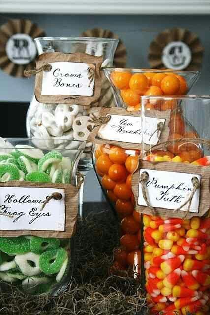 Halloween party decor apothecary jars candy treats