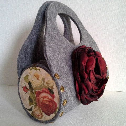 Gray bag felt bag women bag uncommon bag by agnieszkamalik on Etsy