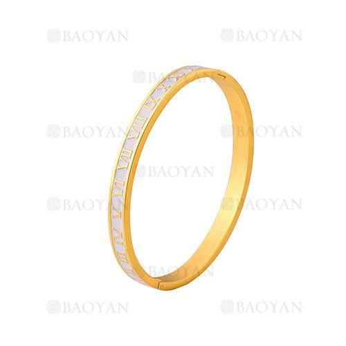 pulsera de moda con numero romano de dorado en acero inoxidable-SSBTG1224995