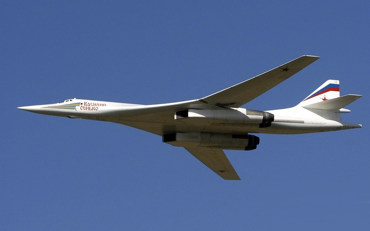 "Tupolev Tu-160 ""Blackjack"" the largest variable geometry, supersonic aircraft in the world."